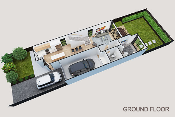 Inside view of ground floor of new Auckland home